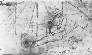 A sketch of James M. Goodhue at Traverse des Sioux by Frank Blackwell Mayer