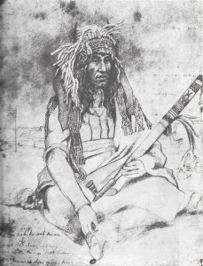A sketch of the Dakota Chief Little Crow by Frank Blackwell Mayer, 1851